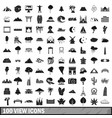 100 view icons set simple style vector image
