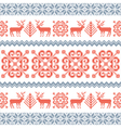 Traditional knited pattern with reindeers vector image