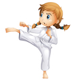 A brave girl doing karate vector image