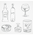 Set of glasses and whiskey bottles vector image