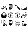 Diabetes disease health icons set vector image vector image
