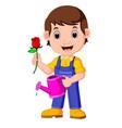 cartoon gardener with watering can vector image