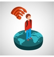 global connection wifi digital man vector image