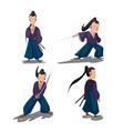 old japan samurai cartoon character vector image