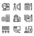 School accessories flat line icons vector image