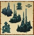 Set of grey stones stalactites vector image