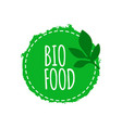 vegan logo bio food badge vegan healthy food vector image