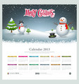 Calendar 2013 Merry christmas and snowman vector image vector image
