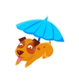 Puppy Sweating Under Umbrella On The Beach vector image