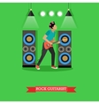 Rock Guitarist playing electric guitar on stage vector image