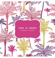 Palm trees seamless frame pattern background vector image