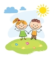 Happy children on a summer day vector image