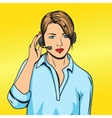 Technical support woman with phone pop art vector image
