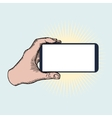 Hand Holding Mobile Phone Horizontally vector image