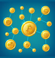 blockchain cryptocurrency and bitcoin vector image