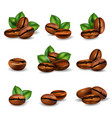 coffee beans realistic set vector image