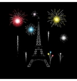Eiffel tower glows in the night with fireworks vector image