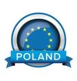 EU flag button with Poland ribbon vector image