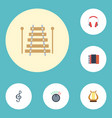 flat icons quaver lyre musical instrument and vector image