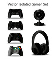 gamer set four controllers webcam and headphone vector image