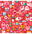 Valentine Day Red Flat Design Seamless Pattern vector image