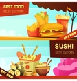 Fast Food Restaurant Advertisement Banners Set vector image