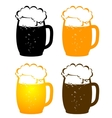 beer mugs with bubbles vector image