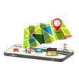 city map app on cellphone isolated on white vector image