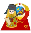 Matryoshka in fur cap with a balalaika vector image