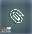 paper clip icon symbol on the blue-green abstract vector image