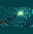 green abstract technology tunnel with light vector image