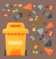 recycling garbage organic elements trash tires vector image