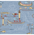 seamless Native American pattern with river vector image