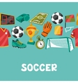 Sports seamless pattern with soccer football vector image