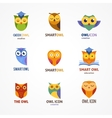 Owl outline icons collection vector image