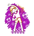Morning fitness girl color drawing vector image