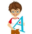 little kid with glasses holding the a letter vector image