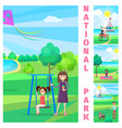 mother near daughter on swing in national park vector image