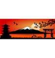Mount Fuji at sunset vector image