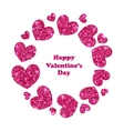 Round Frame Made in Glitter Hearts for Valentines vector image
