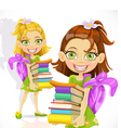 schoolgirl with a stack of books vector image