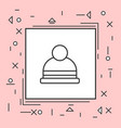 winter hat eans icon thin line in pink frame vector image