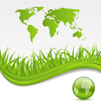 Nature brochure with global planet and grass vector image vector image