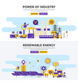 flat design concept banners - power of industry vector image