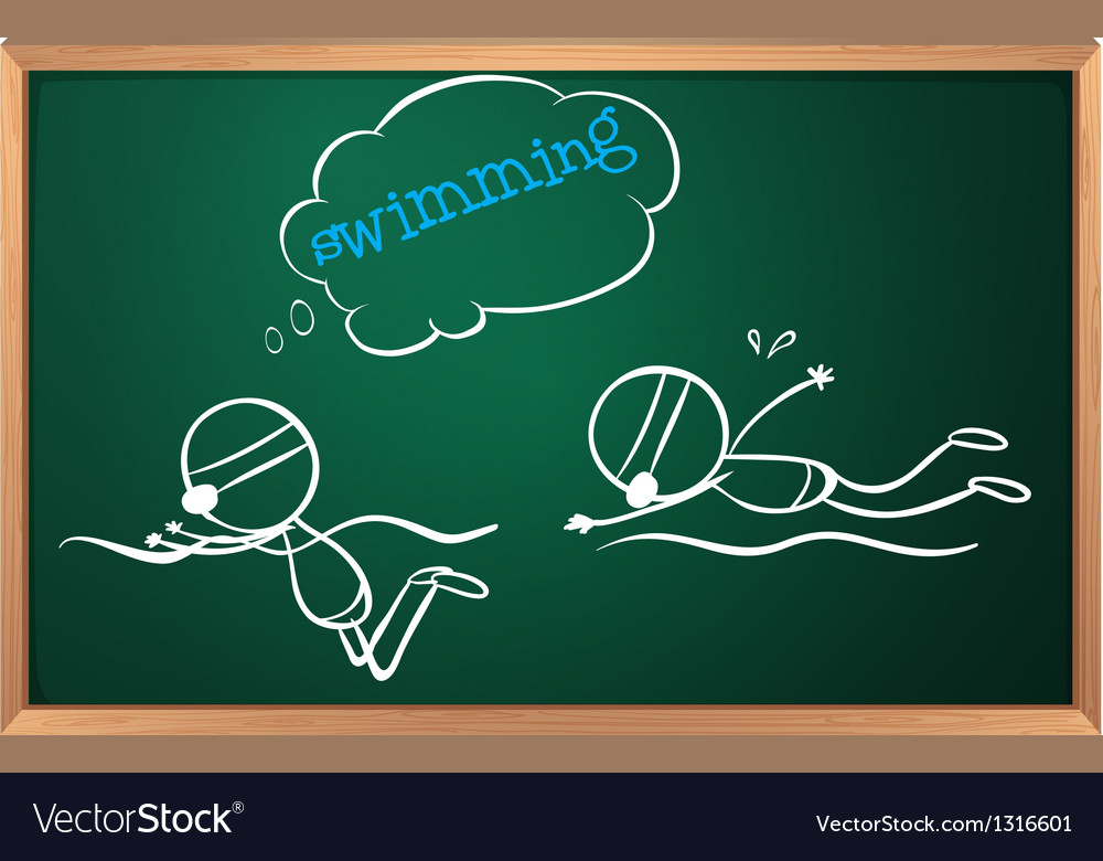 A blackboard with a sketch of two people swimming vector