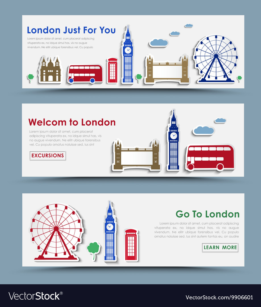 Templates banners for tourism in london vector