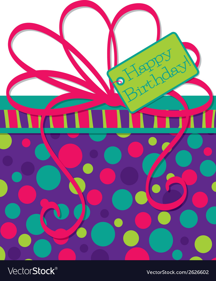 Bright gift box birthday card in format vector