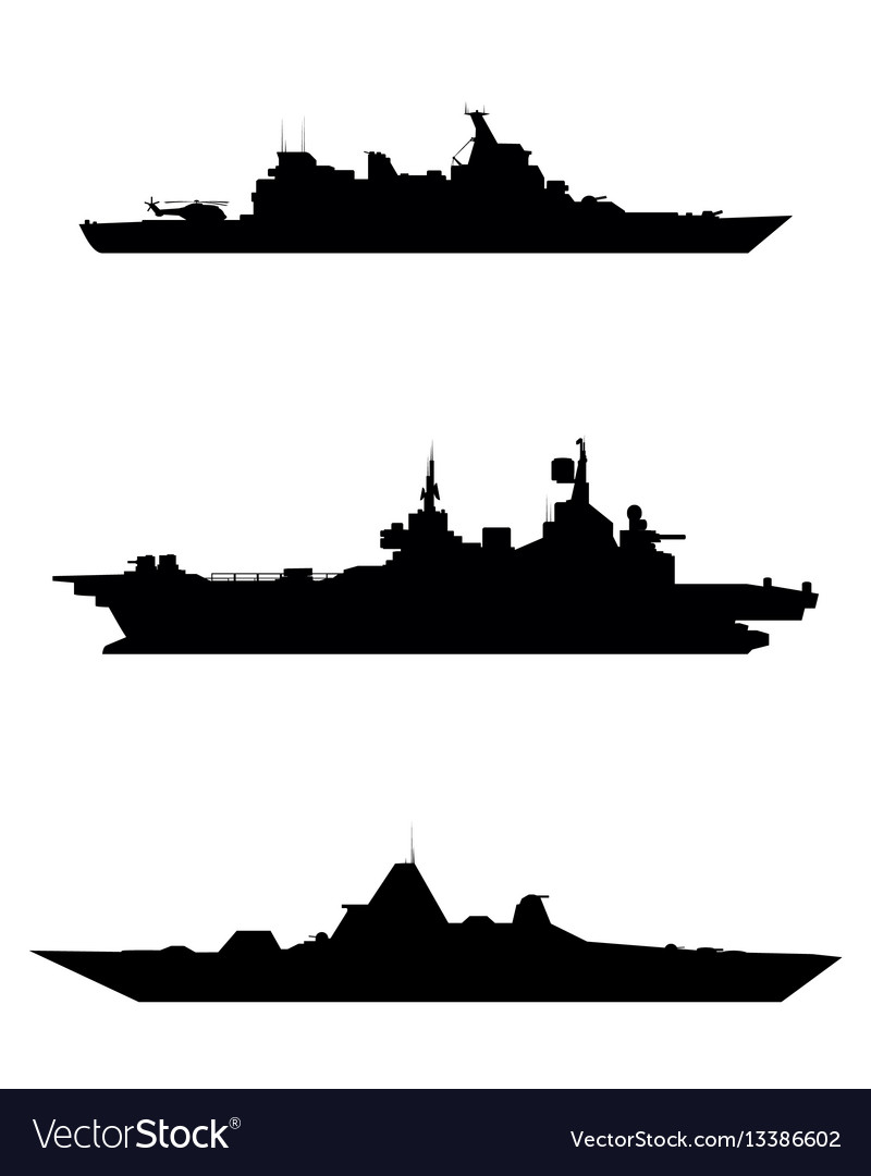 Three warship silhouette vector