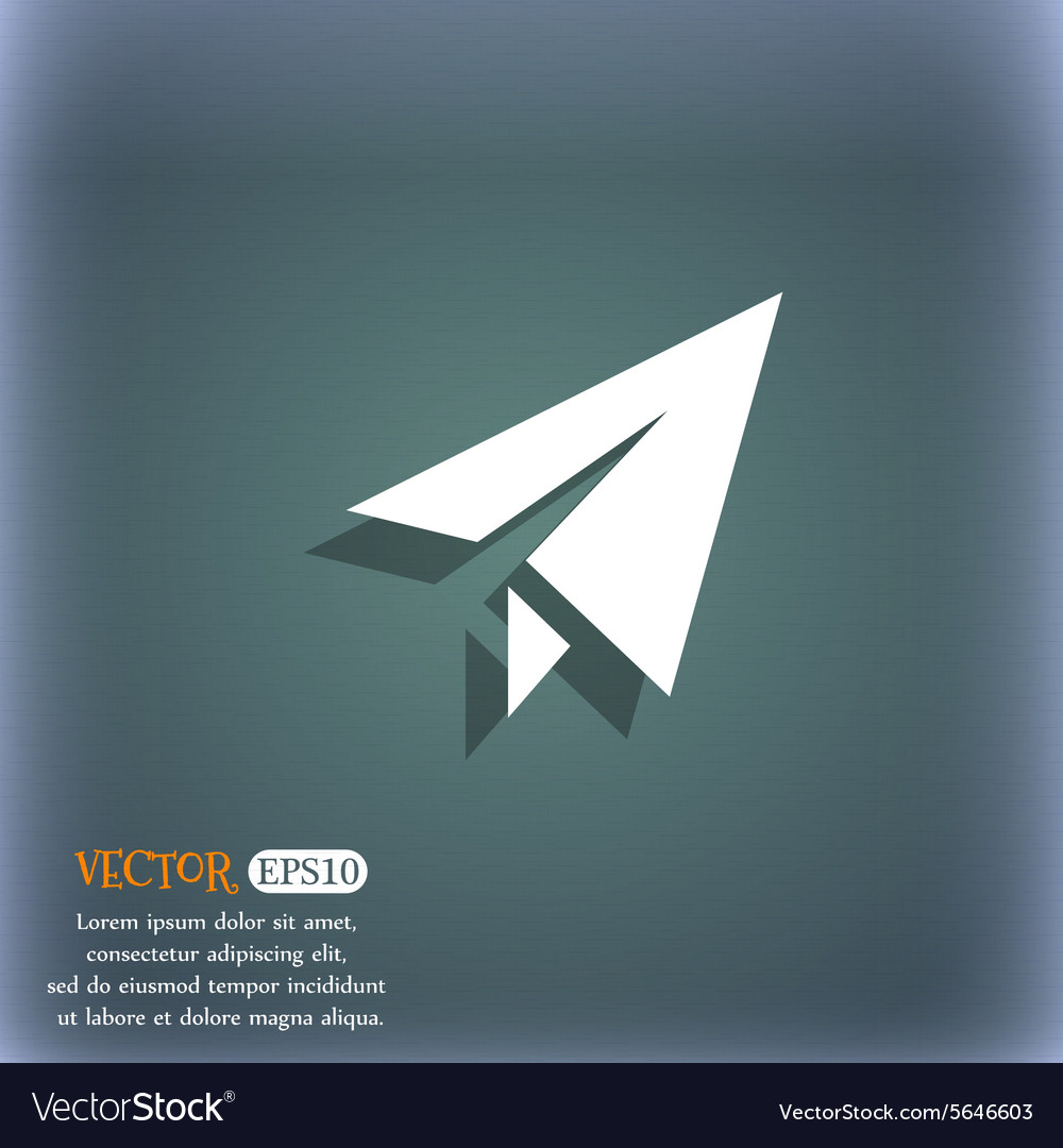 Paper airplane icon symbol on the bluegreen vector
