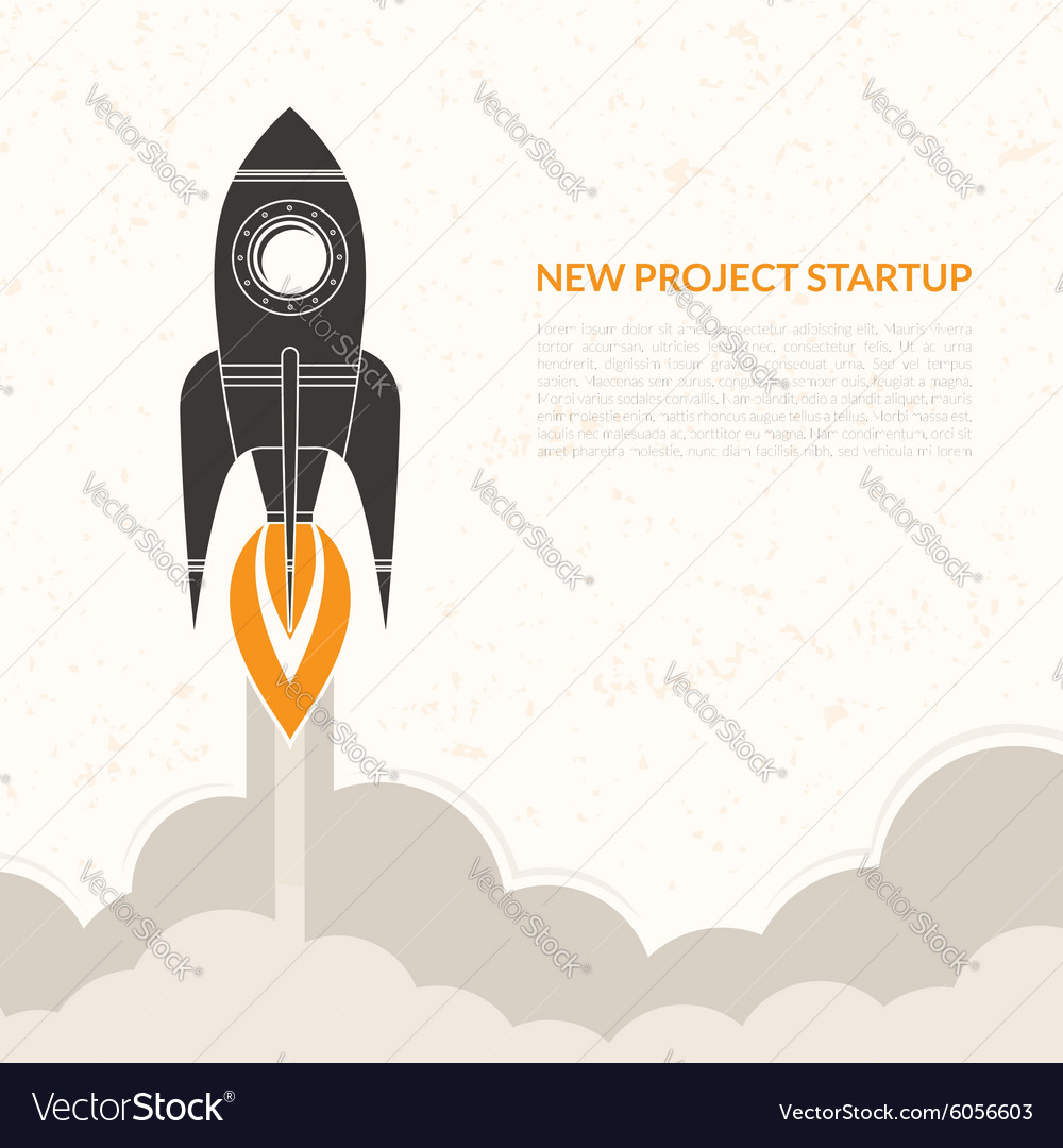 Space rocket launch vintage background vector